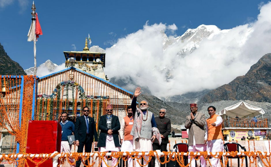 He laid foundation stone for reconstruction of of the 'samadhi sthal' of Adi Shankaracharya and construction of a museum. Addressing a gathering of 5,000 people, he said that Lord Shiva wanted him to serve 125 crore Indians amongst chants of 'Jai Jai Bhole'. Twitter/@PMOIndia