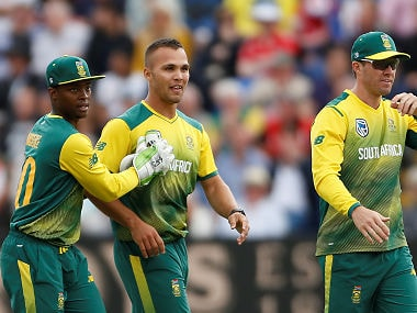 File image of South Africa's Dane Paterson with Mangaliso Mosehle (L) and AB De Villiers (R). Reuters