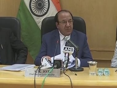 Chief Election Commissioner AK Joti addressing the press conference in New Delhi. Twitter @ANI