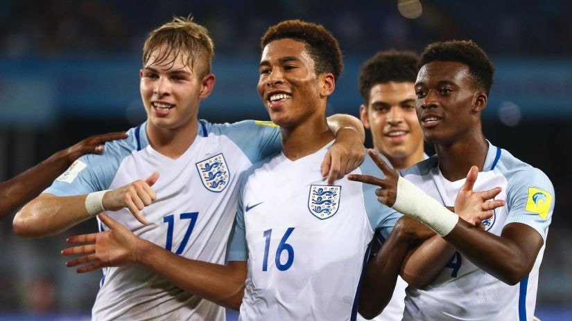 Daniel Loader (C) of England celebrates a scored goal with his teammates during the FIFA U-17 World Cup. Getty