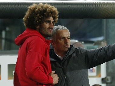 Manchester United manager Jose Mourinho and  Marouane Fellaini. Reuters
