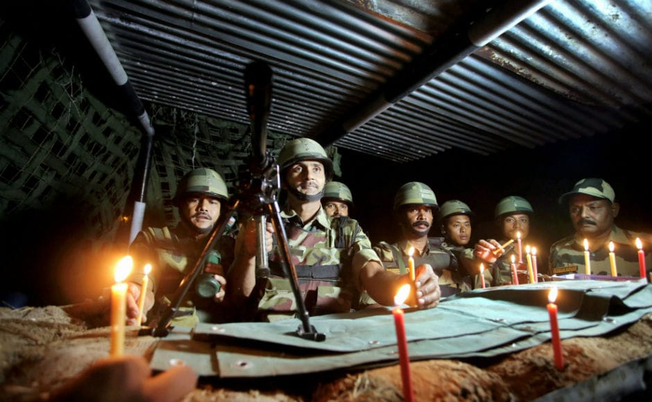 The festival was celebrated with fervour by army personnel posted near International border. Bordermen lit up diyas and brust crackers, however the traditional practice of exchanging sweets with Pakistani troops did not take place. PTI