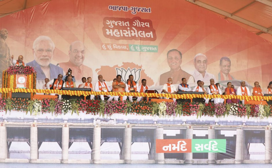 Along with Modi, Chief Minister Vijay Rupani, former chief minister Anandiben Patel, Amit Shah and several other BJP leaders were present in the 'Gujarat Gaurav Mahasammelan'. Assembly elections are due in Gujarat later this year. Twitter @BJP4Gujarat