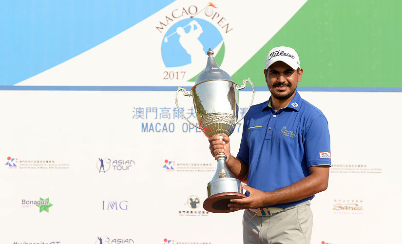 Gaganjeet Bhullar posing with his trophy after winning the Macau Open 2017. AFP