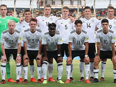 Germany U 17 Football team line-up before clash with Costa Rica. Getty Images
