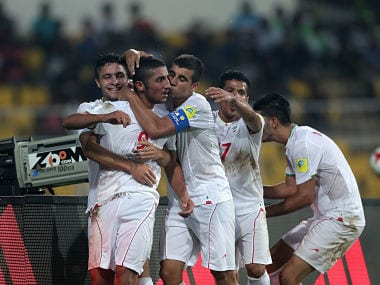 File image of Allahyar Sayyad of Iran celebrating with team members. Getty Images