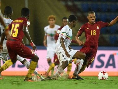 GUWAHATI, INDIA - OCTOBER 21: Fode Konate of Mali and Mohammed Iddriss of Ghana in action during the FIFA U-17 World Cup India 2017 Quarter Final match between Mali and Ghana at Indira Gandhi Athletic Stadium on October 21, 2017 in Guwahati, India. (Photo by Tom Dulat - FIFA/FIFA via Getty Images)