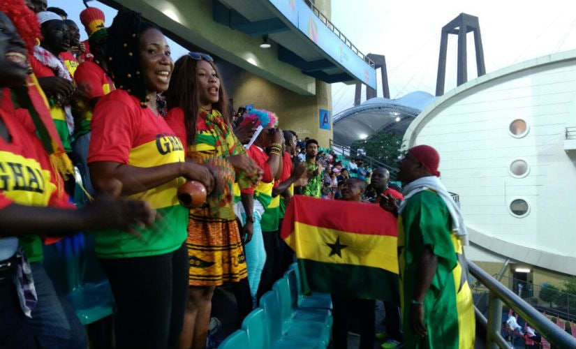 Members of Ghana Supporters Association sing and dance during Ghana's match against Niger. Shivam Damohe
