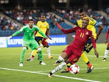 Ghana and Columbia players in action during their FIFA U-17 World Cup match. Image Courtesy: Twitter @FIFAcom