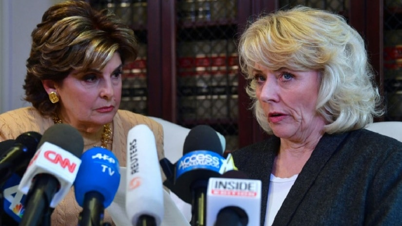 Former actress Heather Kerr (R), accuses disgraced producer Harvey Weinstein of sexual misconduct at a press conference where she is joined by her attorney, Gloria Allred (L). Image via AFP / Frederic J Brown