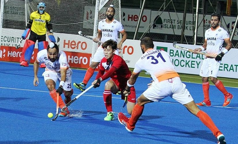 It would have been easier to dodge through peak-hour Dhaka traffic than ask the Koreans to commit an error. Image Courtesy: Twitter @TheHockeyIndia