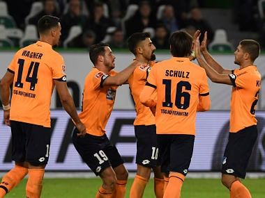 Hoffenheim's Kerem Demirbay, 3rd from right, celebrate after scoring the goal with teammates. AP