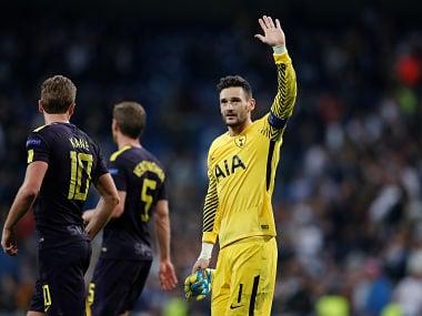Tottenham's Hugo Lloris gestures to fans after the match. Reuters