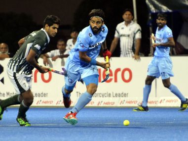 India in action against Pakistan during the Asia Cup. Image courtesy: Twitter @Asia_Hockey