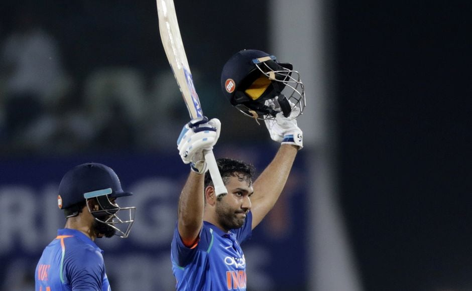 Sharma completed his sixth hundred against Australia off 94 balls. But both Sharma and Kohli were dismissed in the 40th over off Adam Zampa (2-59). Kedar Jadhav (5 not out) and Manish Pandey (11 not out) got the remaining runs. AP