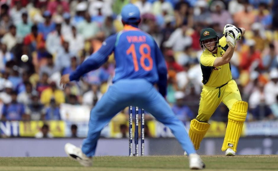Australia's 100 came up in the 20th over as Warner put on 34 runs with Steve Smith (R). AP