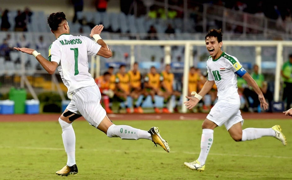 Iraqi striker Mohammed Dawood celebrates after scoring against Mexico. The match ended in a 1-1 draw. PTI