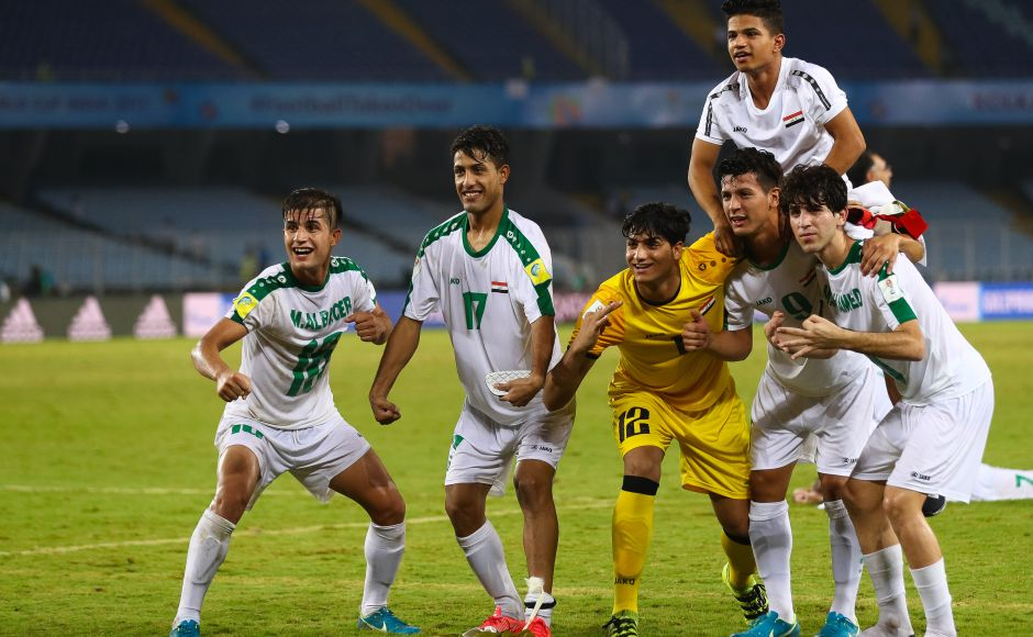 Iraq players celebrate after 3-0 win over Chile that put them close to a place in the knock-out stages of the FIFA U-17 World Cup. GettyImages