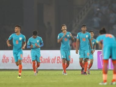 Jeakson Singh Thounaojam celebrates with his team-mates after scoring India's equaliser against Colombia. Getty