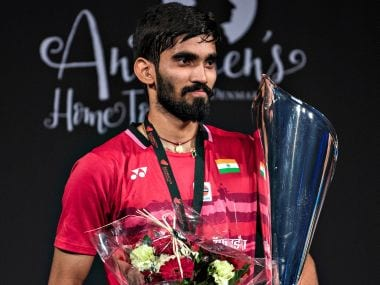 Gold medalist Kidambi Srikanth of India poses on the podium. Reuters