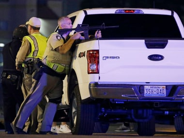 A police personnel during the shooting attack in Las Vegas. AP