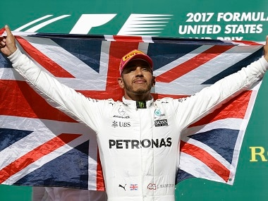 Lewis Hamilton celebrates after winning the US Grand Prix at the Circuit of the Americas in Austin. AP
