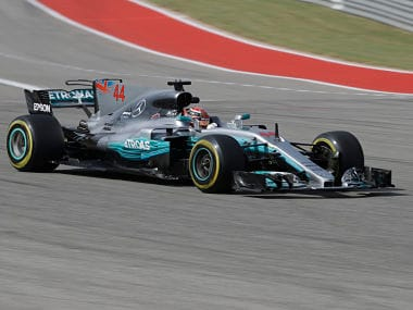 Mercedes driver Lewis Hamilton, drives his car during the second practice session for the Formula One US Grand Prix. AP