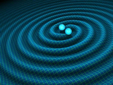 An artist's impression of gravitational waves generated by binary neutron stars. Image: Nasa
