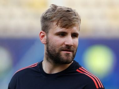 File image of Manchester United's Luke Shaw during training. Reuters