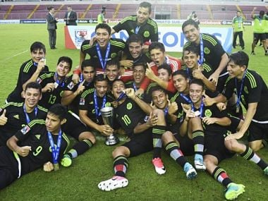 The Mexican U-17 team celebrate their win in the South American Championship. AFP