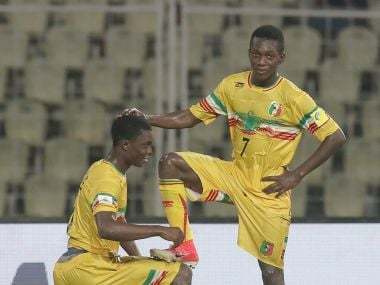 Fode Konate (L) of Mali celebrates with team mate Hadji Drame after scoring his team's third goal against Iraq. Getty