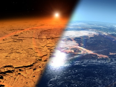 A rendering of the current Mars atmosphere and what it could have been earlier. Image credit: NASA, Goddard Space Flight Center