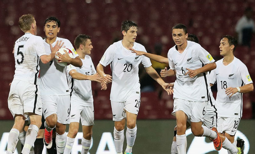The Kiwi captain Max Mata is congratulated after scoring the equaliser against Turkey. Getty Images