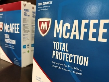 McAfee computer security software is shown for sale. Reuters.