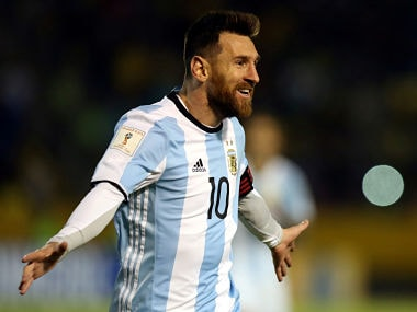 Lionel Messi celebrates after scoring a hat-trick against Ecuador. Reuters