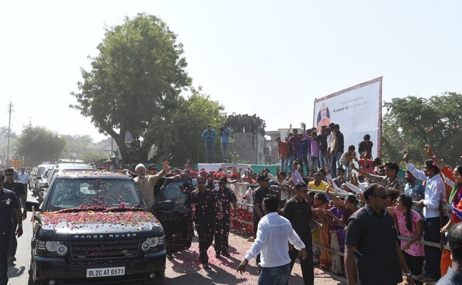 A large number of Vadnagar residents queued up along the route to greet Narendra Modi who visited his birthplace for the first time after becoming prime minister in 2014. Twitter@PMOIndia
