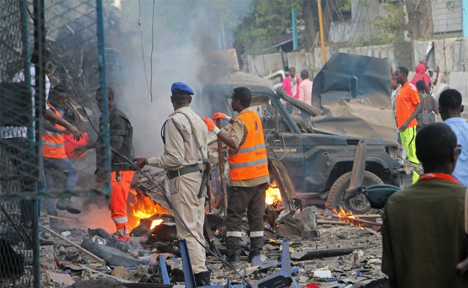A suicide truck bomb exploded outside a popular hotel in Somalia's capital Mogadishu on Saturday, killing at least 23 people and wounding more than 30. AP