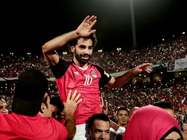 Egypt's Mohamed Salah celebrates after his side clinched World Cup qualification. AP