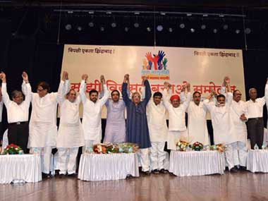 Leaders of several opposition parties spoke at a 'Sanjhi Virasat Bachao' event organised in Mumbai. Twitter @INCMumbai