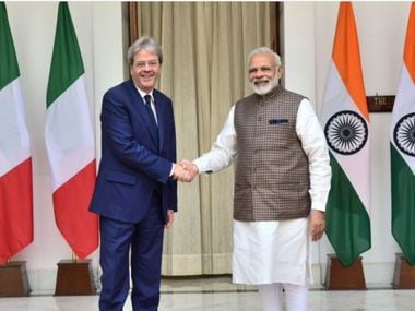 Indian prime minister Narendra Modi receives his Italian counterpart Paolo Gentiloni at Hyderabad House. Twitter/ @MEA_India