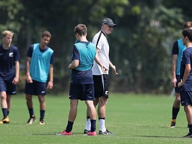 Danny Hay, Head Coach of New Zealand talks to his players during a training session ahead of the FIFA U-17 World Cup India 2017. Getty Images