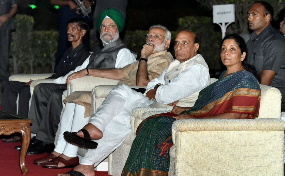 Prime Minister Narendra Modi and other Cabinet ministers attended the inauguration of new dynamic lighting of North and South blocks which has the potential to present an amazing 16 million colour combinations. PTI