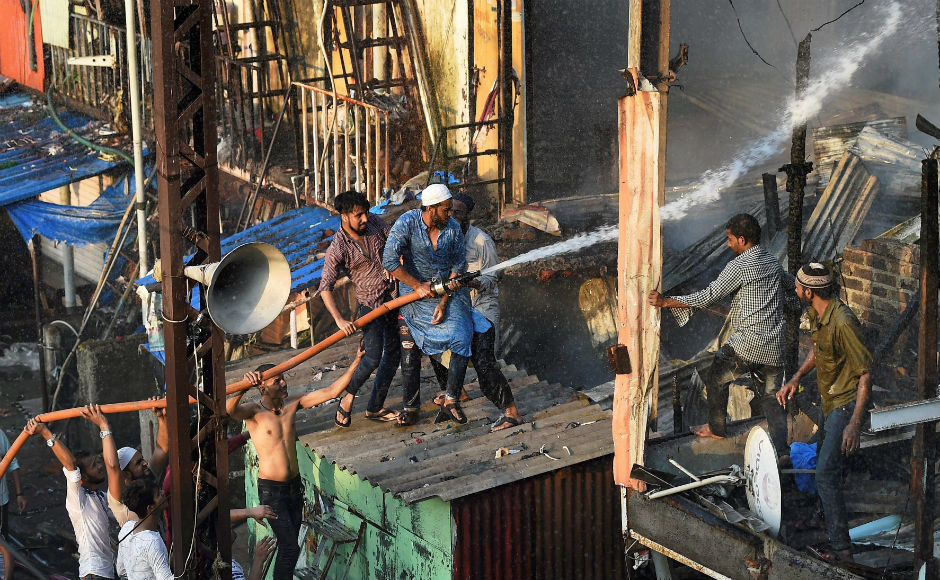 The fire broke out at around 4.20 pm when municipal officials were carrying out an anti-encroachment drive outside Bandra station. The fire was caused due to a series of cylinder blasts during a demolition drive. PTI