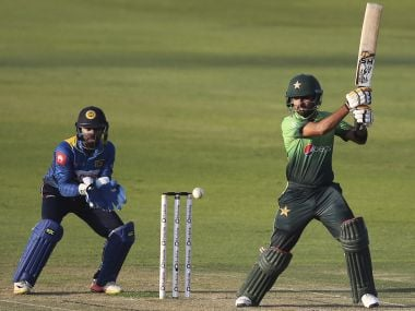 Pakistan's Babar Azam plays a shot during their second ODI match against Sri Lanka. AP