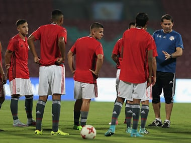 Gustavo Morinigo, Head Coach of Paraguay talks to his players during a training session ahead of the FIFA U-17 World Cup India 2017. Getty Images