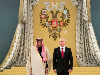 Russian president Vladimir Putin welcomed Saudi King Salman during their meeting in the Kremlin, Moscow, Russia on Thursday. AP