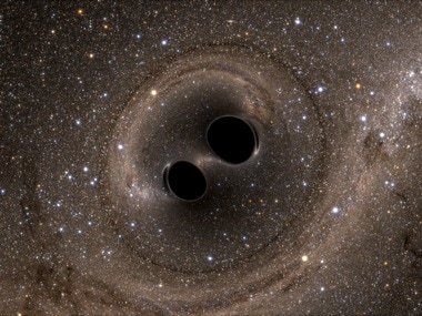 The collision of two black holes - a tremendously powerful event detected for the first time ever by the Laser Interferometer Gravitational-Wave Observatory, or LIGO. Reuters