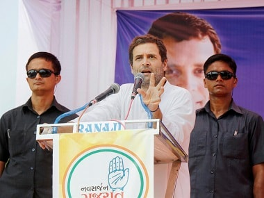 Congress vice-president Rahul Gandhi addressing crowd at a rally in Vadodara. PTI