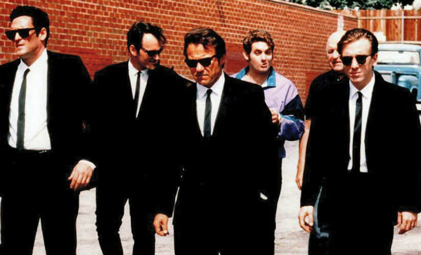 The iconic opening credits sequence of Reservoir Dogs featuring the famed slow-motion walk.