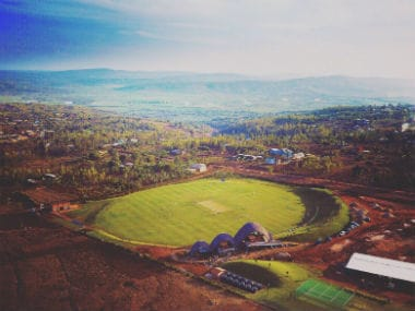 An aerial view of the newly-built cricket stadium near the Rwandan capital of Kigali. Image credit: Twitter/@cwjreynolds